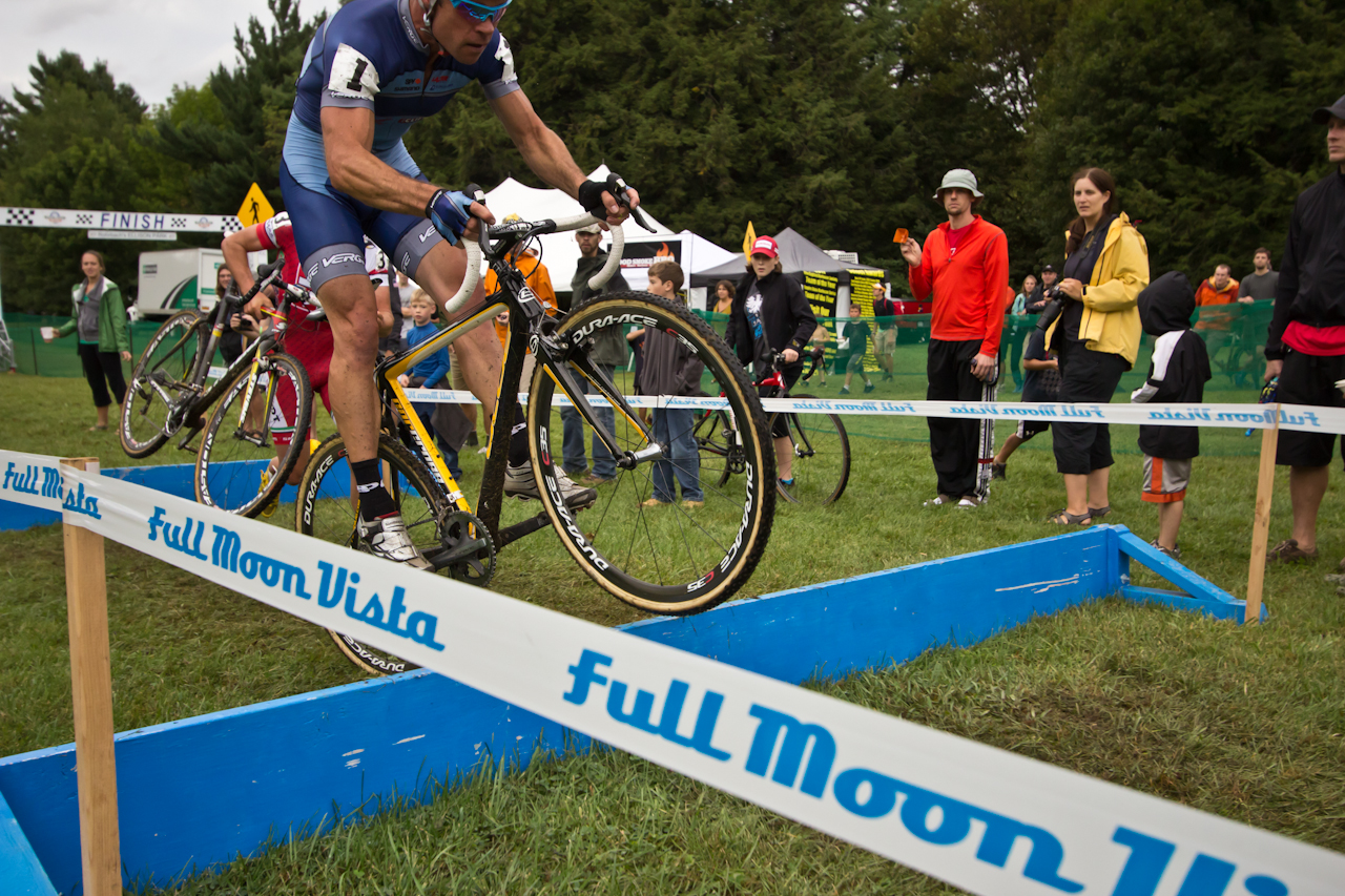 Jonathan Page bunnyhops the barriers at Rohrbach Ellison Park Cyclocross. Photo: Brian Boucheron