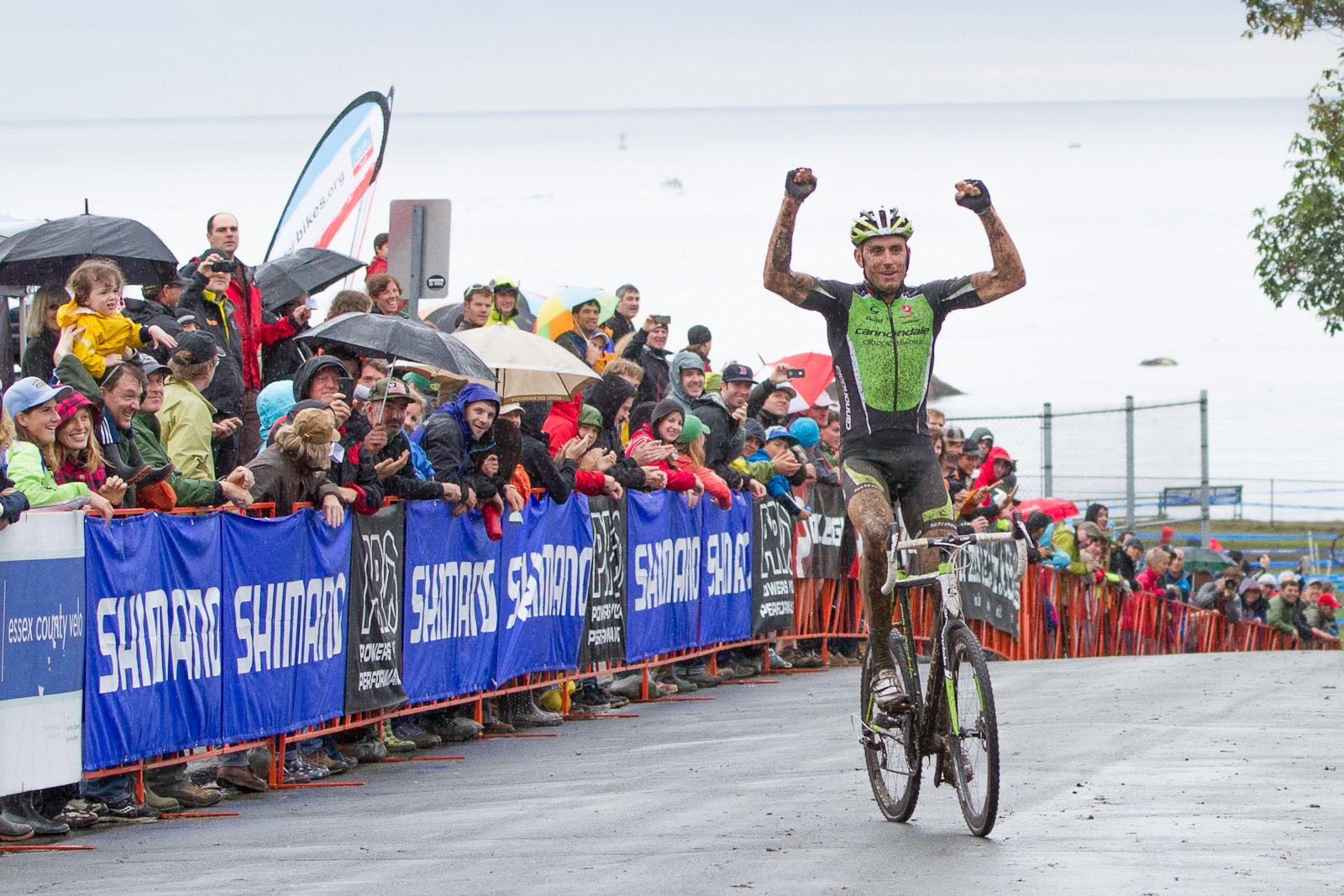 Trebon crosses the line as fans cheer in Gloucester. Photo: Todd Prekaski
