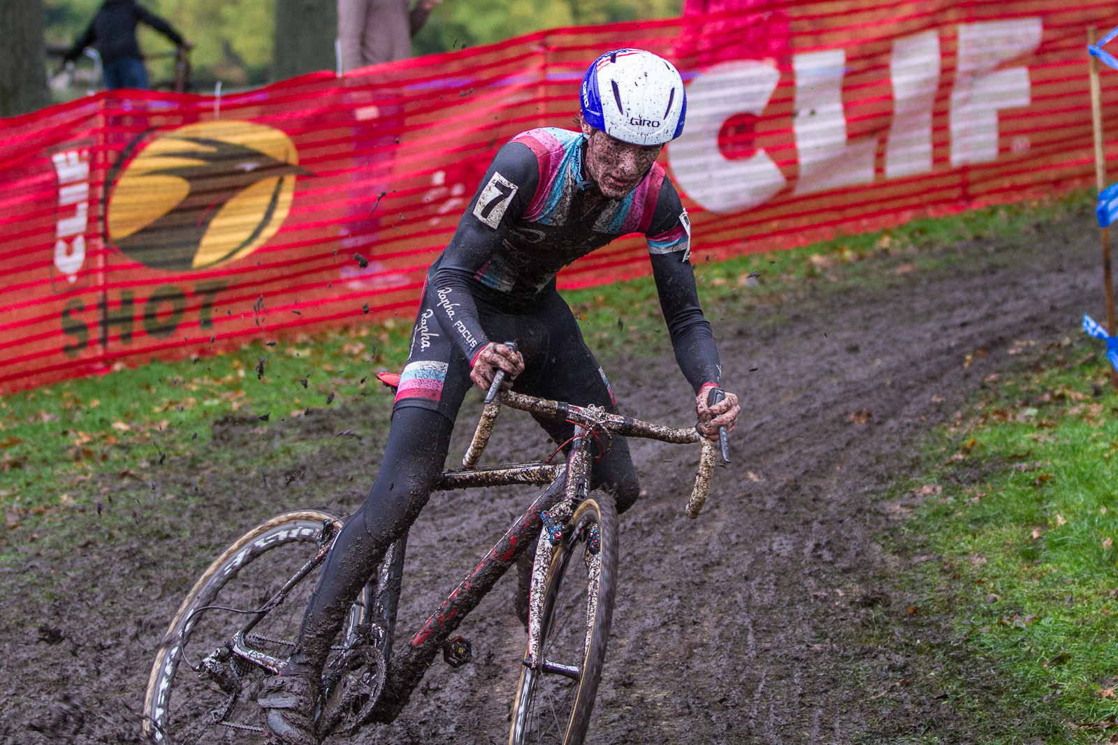 Zach McDonald battles the mud enroute to a victory in Providence. Photo: Todd Perkaski.