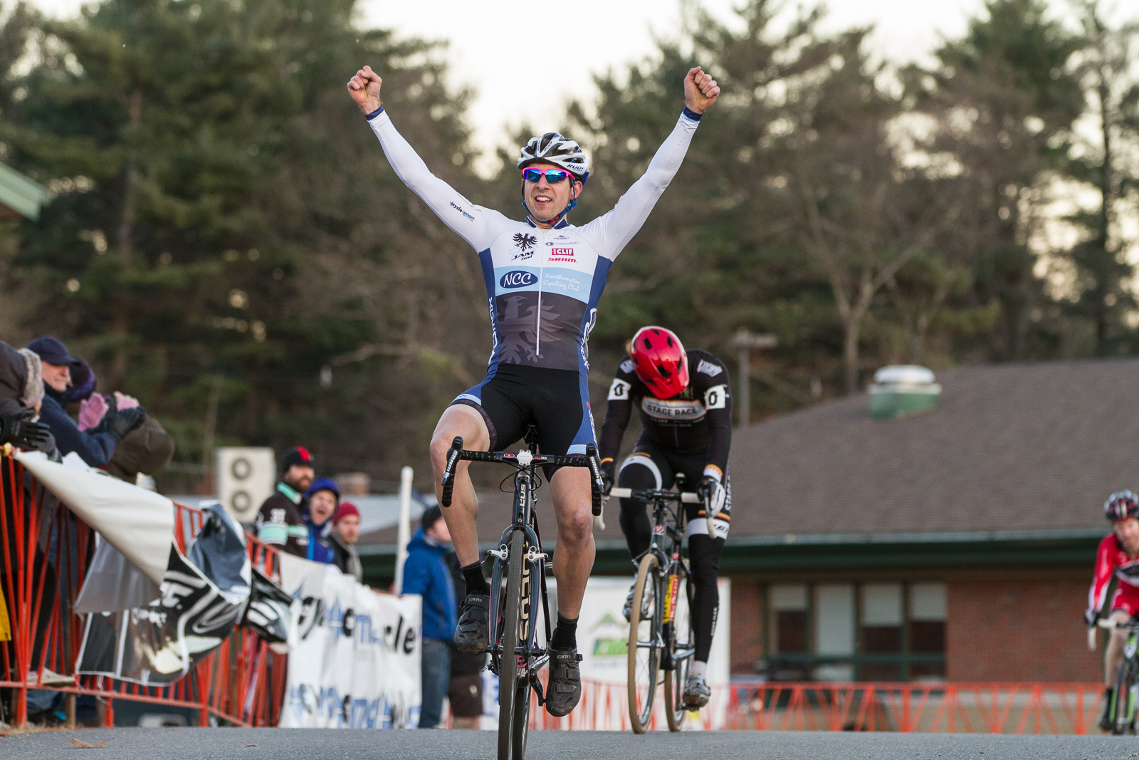 Jeremy Durrin attacked during the last half of a lap, taking the win as Mike Garrigan rolled in for second at Baystate Cross. Photo: Todd Prekaski.